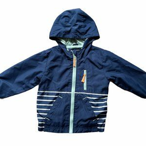Cat & Jack Windbreaker Striped Blue Full Zip Hood